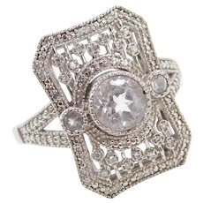 Sterling Silver Faux Diamond Art Deco Style Ring