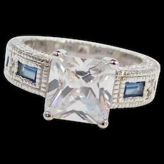 Sterling Silver Faux Diamond and Created Sapphire Ring