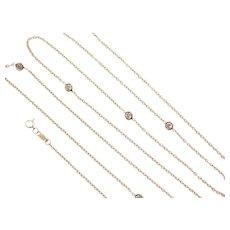 "34"" Long 14k Gold Faux Diamonds Station Necklace"