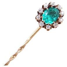 Victorian 10k Gold Diamond and Faux Emerald Stick Pin