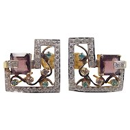 Vintage 22k Gold Two-Tone Big Faux Gemstone Stud Earrings