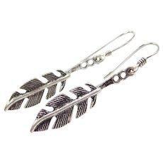 Sterling Silver Feather Earrings