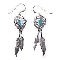 Vintage Sterling Silver Turquoise Heart Earrings with Feather Dangles