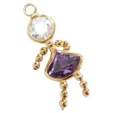 Vintage 14k Gold February Birthstone Little Girl Charm ~ Faux Amethyst, Faux Diamond