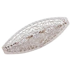 Art Deco 14k Gold Filigree .28 ctw Diamond Pin / Brooch Two-Tone