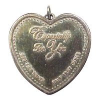 "Vintage Sterling Silver .999 Fine Silver ""Especially for You"" Heart and Rose Pendant"