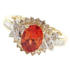 Vintage 14k Gold 1.34 ctw Faceted Orange Mexican Fire Opal and Diamond Ring