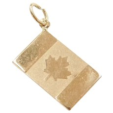 14k Gold Canadian Flag Charm Maple Leaf ~ Flag of Canada ~ Souvenir