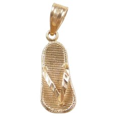 Vintage 14k Gold Flip Flop Charm