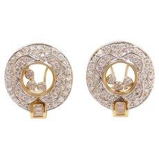Vintage 18k Gold Two-Tone Floating Faux Diamond Earrings