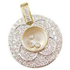 Vintage 18k Gold Two-Tone Floating Faux Diamond Pendant