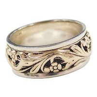 Vintage 14k Gold Two-Tone Floral Band Ring