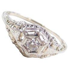 Art Deco 18k White Gold .10 Carat Floral Diamond Engagement Ring