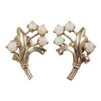 Vintage 14k Gold Floral Opal Screw Back Earrings