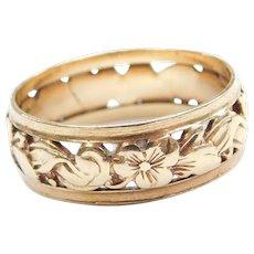 14k Gold Floral Wedding Band Ring