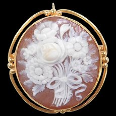 Vintage 14k Gold Carved Shell Flower Cameo Pendant / Pin