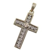 Vintage 14k Gold Two-Tone Flower Cross Pendant