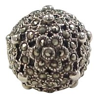 Vintage Sterling Silver Marcasite Flower Dome Ring