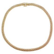 """FOPE Designer 18k Gold Roll-On Mesh Popcorn Necklace ~ 17"""" ~ 55.5 Grams"""