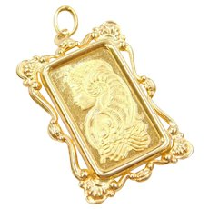 10 Grams Suisse Lady Fortuna Fine Gold Bar Pendant with 18k Gold Fancy Bezel
