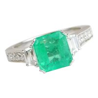 GIA Certified 1.84 Carat Natural Columbian Emerald Engagement Ring with .68 ctw Diamond Accents 14k White Gold ~ 2.52 ctw