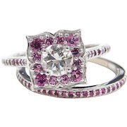 Gorgeous GIA Certified .56 Carat Diamond Engagement Ring with Ruby Floral Setting and Ruby Wedding Band 14k White Gold