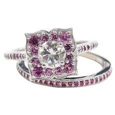 GIA Certified .56 Carat Diamond Engagement Ring, Ruby Floral Setting & Wedding Band 14k White Gold 143