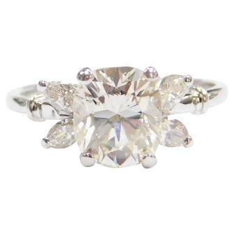 1930's GIA Certified 1.74 Carat Diamond Engagement Ring 18k White Gold ~ 2.02 ctw
