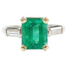 Columbian Emerald & Diamond Ring Platinum/18k Gold 3.80 ctw GIA Certified