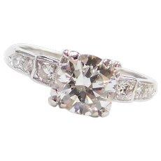 GIA Certified .84 ctw Diamond Art Deco Engagement Ring Platinum