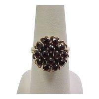 Vintage 14k Gold Garnet Cluster Ring