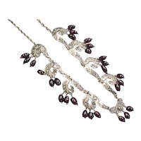 Vintage Sterling Silver Garnet Glass Necklace