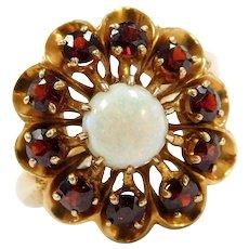 Edwardian 14k Gold Bohemian Garnet and Natural Opal Ring