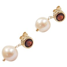 14k Gold Garnet and Light Peach Cultured Pearl Drop Earrings