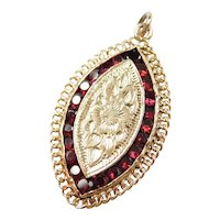 Vintage 14k Gold Flower Garnet Poison Locket Pendant