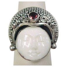 Vintage Sterling Silver Garnet Bead Setting Ring