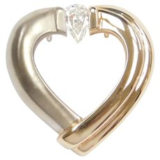 Gelin Abaci Tension Heart Pendant with 1/2 Carat Pear Cut Diamond 14k Gold Two-Tone