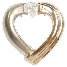 Gelin Abaci Tension Heart Pendant with 1/2 Carat Pear Cut Diamond 14k Gold Two-Tone