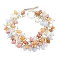 "7 3/4"" Gemstone Charm Bracelet Sterling Silver"