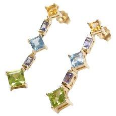 Colorful Gemstone Earrings 10k Gold