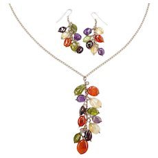 Sterling Silver Colorful Gemstone Necklace and Earrings Cluster Set