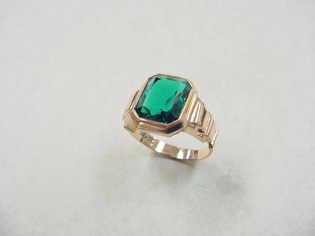 Vintage 10k Gold Gents Faux Emerald Ring Arnold Jewelers