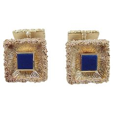 Vintage 14k Gold Lapis Lazuli Cuff Links ~ 1950's Germany
