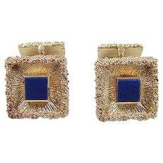 Vintage 14k Gold Lapis Lazuli Cuff Links ~ 1950's Germany