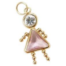 Vintage 14k Gold October Birthstone Girl Charm ~ Faux Pink Tourmaline, Faux Diamond