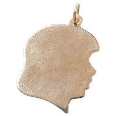 Vintage 14k Gold Engravable Girl Head Charm