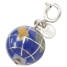 Blue Glass and Jade Inlay Globe Earth Charm Sterling Silver