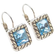 Silver Plated Copper Blue Glass Lever Back Earrings