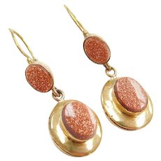 Edwardian 18k Gold Goldstone Dangle Earrings Lever Backs