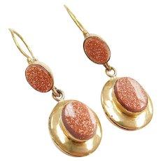 Edwardian 18k Gold Goldstone Dangle Earrings Lever Backs